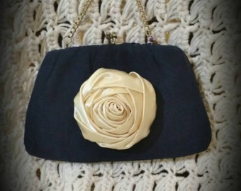 After Life Accessories: Repurposed vintage The Audrey Navy Blue Clutch Purse