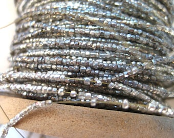 3 yds Vintage Antique Silver Glass Beads on Wire Doll Jewelry