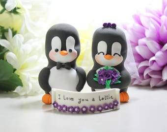Unique Penguin wedding cake toppers - love birds personalized black white purple elegant cute bride groom figurines wedding gift anniversary