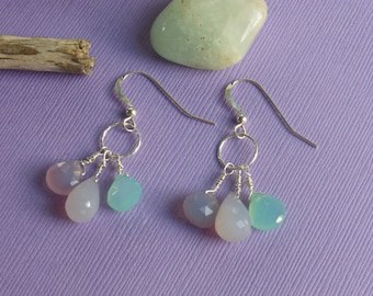 Chalcedony trio earrings.  Wear these Chalcedony briolette earrings to make the holidays bright.