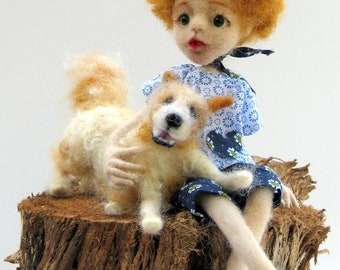 Needle felted art doll, Art doll, Felted doll, Needle felted boy with dog, home decoration, OOAK