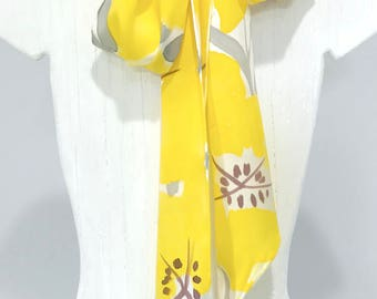 Yellow Silk Scarf, Handpainted, Yellow and Gray Scarves, Skinny Scarf, Yellow Scarf, Silk Sash, Yellow Evening Primrose, Charmeuse, 5x72 in