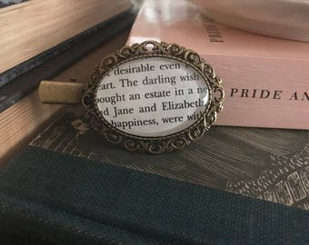 Literary Hair Clip, Pride and Prejudice book page under glass