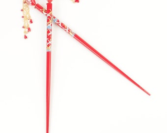 Red Blown Glass hair stick (set of two)