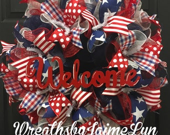 Patriotic Wreath, Welcome wreath, summer wreath, USA wreath, front door wreath, red white and blue Wreath,