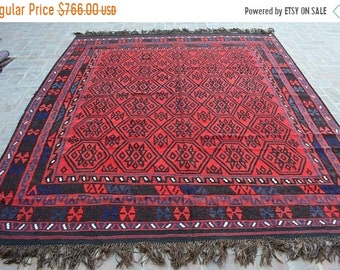 45 % OFF BIG SALE Handmade Afghan Tribal Nomadic Flat weave area kilim rug 275 x 236 cm