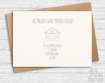 New home postcards, Change of Address Postcards, New Home Announcement Postcard, New home bunting postcards
