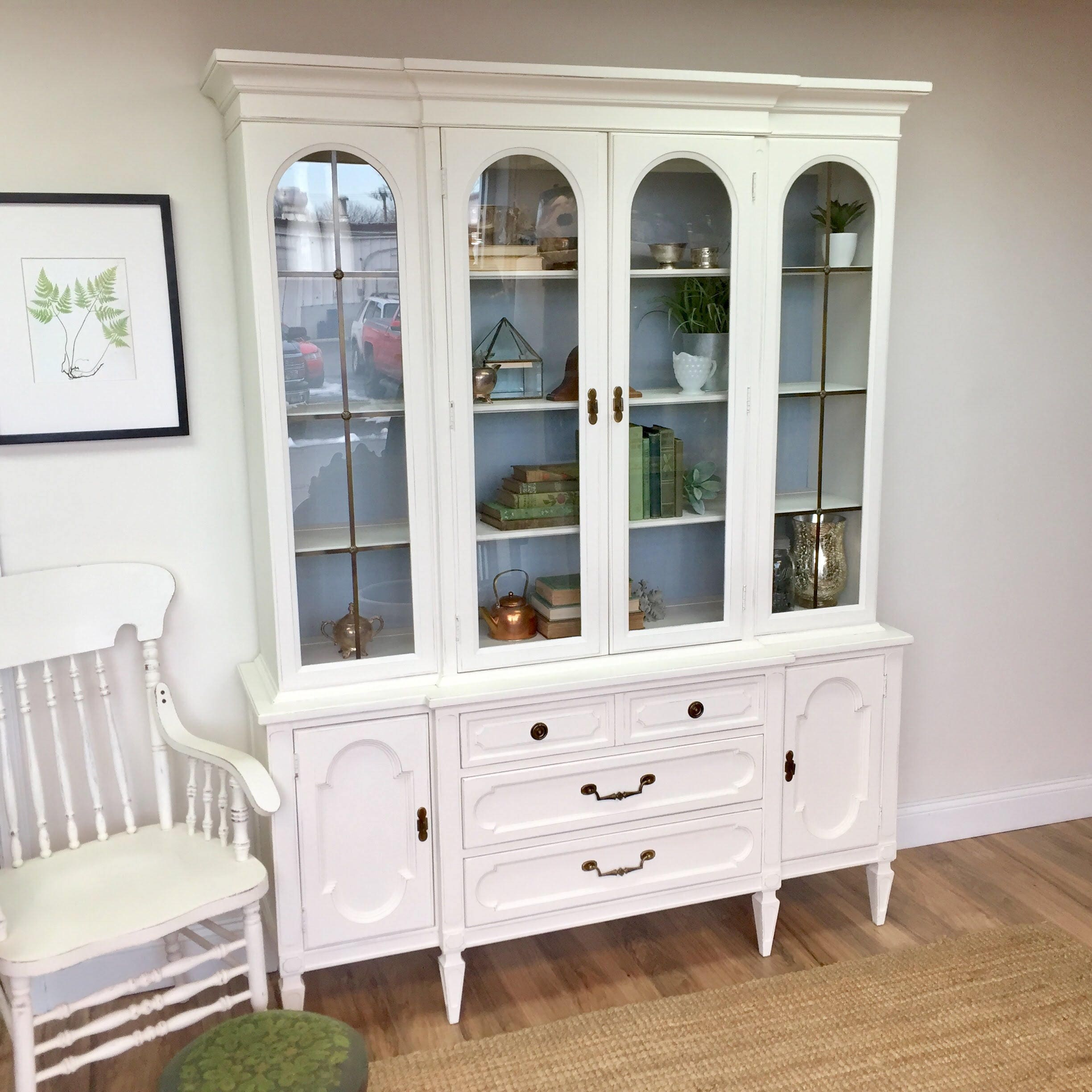 etsy cabinet hutch painted il sold white vintage and blue china market restored hand