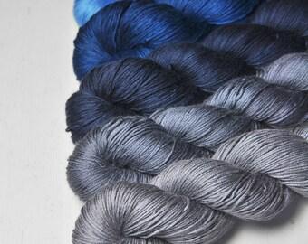 I got the blues - Gradient Yarn Set of Silk / Cashmere Lace Yarn - Hand Dyed Yarn - handgefärbte Wolle - DyeForYarn