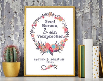 Wedding day art print, anniversary mural 'Two hearts & a promise', personalized DIN A4
