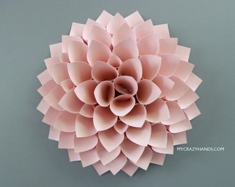 texture paper dahlia | 10'' dahlia wall decor | wedding flower || origami gifts | nursery wall decor | bridal shower backdrop -dusty blush