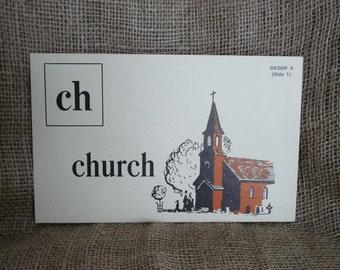 Picture Phonics Reading Flash Card Visual church train Christian engine baptism Ephemera Schoolcraft Kensworthy Education large flashcard