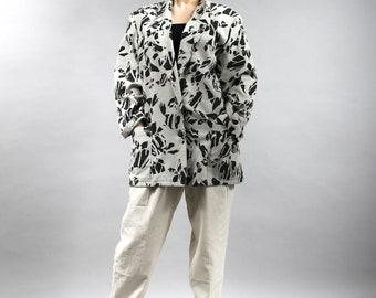 80s Lightweight Long Cotton Blazer. Vintage Oversized Duster. Longline Cotton Womens Jacket. Black White Grey Casual Loose Summer Blazer M L