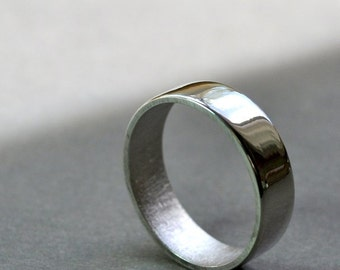 Men's Wedding Ring. 6mm. High Shine Wide Flat Band. Modern Contemporary Jewelry. Handmade