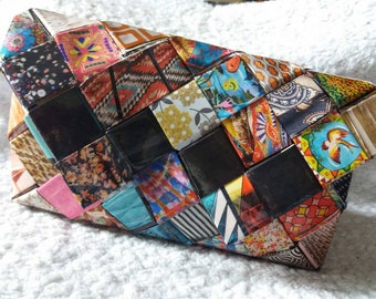 Braided multicolor (candy bag wrapper) recycled magazine paper pouch