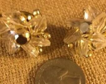 Vintage Crystal Beaded Clip Earrings