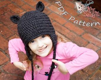 Easy crochet hat pattern, Cat ear hat pattern, haloween crochet cat and bear pattern with bow, easy crochet ear flap hat pattern