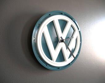 Vintage VW Van Emblem Clock in Dove Blue and White
