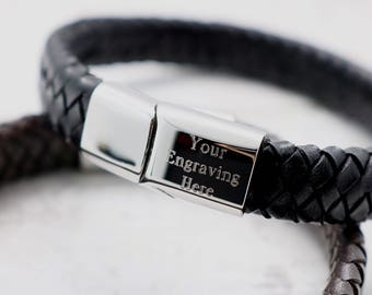 Men's Personalized  Leather Bracelet - Personalized Leather Bracelet - Gift For Him -