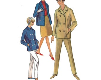 """Simplicity 6290, 60s sewing pattern, size 16 bust 36"""" women's jacket pattern, double breasted, straight pants pattern"""