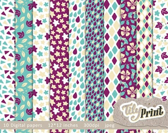 Digital scrapbooking paper pack. INSTANT DOWNLOAD Triangle, Drops, Stars, Leavs, Rhombs and Ornaments.