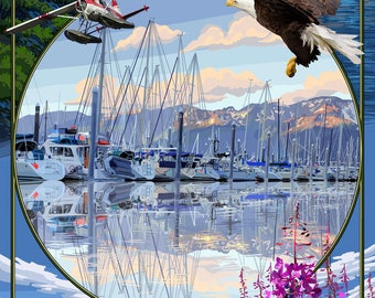 Seward, Alaska - Montage - Lantern Press Artwork (Art Print - Multiple Sizes Available)