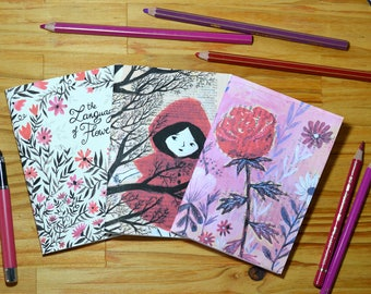 3 small illustrated notebooks - Red
