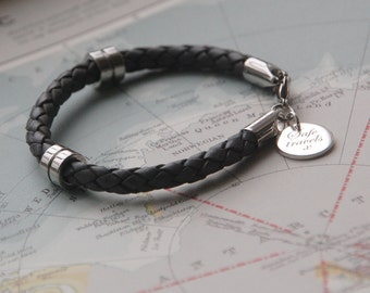 Safe Travels Leather Wristband, Men's Wristwear