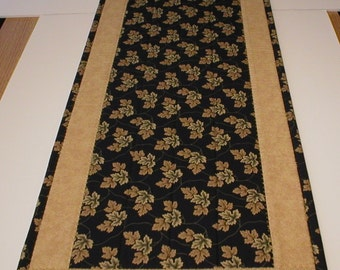 "Elegant Handmade Quilted Table Runner, Fall Leaves on Black Background, 12""x36"" (Runner2101-31-40)"