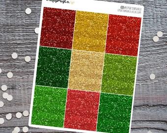 Glitter Headers CHRISTMAS Theme // Planner Stickers, Faux Glitter