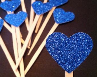 12 Dark Blue Glitter Heart Cupcake Toppers- Food Picks- For Baby Showers, Birthdays & Weddings