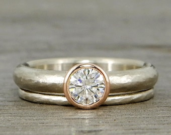 Wedding Ring Set - Forever One D-E-F Moissanite with Recycled 14k Rose and White Gold - Ethical, Eco-Friendly, Conflict Free - Made to Order