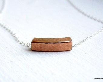 Rose Gold Square Tube Necklace on Sterling Silver Chain , Curved  Bar Necklace , Everyday Necklace , Industrial Jewelry