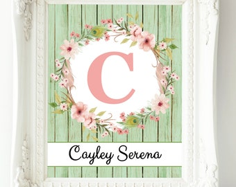 Baby Girl Nursery Wall Art, Custom Name Print, New Baby Gift, Mint Coral Nursery Decor, Wall Art Girl, Personalized Baby, Floral Letter Art
