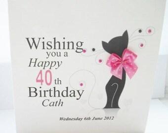 Handmade Cat Birthday Card