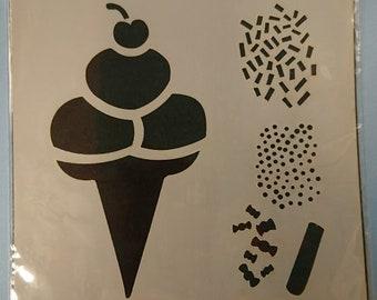 "Ice Cream & Sprinkles Stencil / Mask 6x6"""