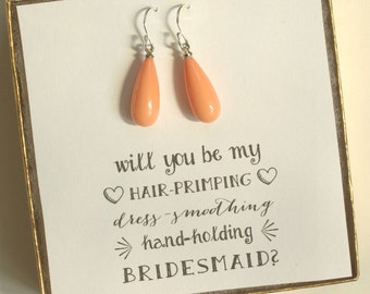Coral Pearl Teardrop Earrings - Bridesmaid Coral Shell Pearl Earrings - Sterling Silver Earrings - Pink Salmon Color - ES1