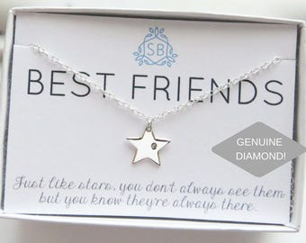 Best Friend Gift • Genuine Diamond & Star Necklace • Genuine Diamond • Star Charm • Lucky Star •  BFF Gift • Best Friends Are Like Stars