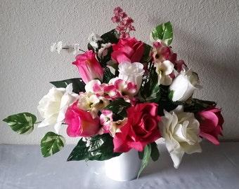 Fuchsia Ivory Rose Table Centerpiece - Wedding Decoration