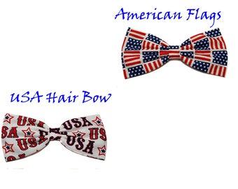 Patriotic American Hair Bows-American Flags-USA- Barrette, Alligator Clip, or Headband