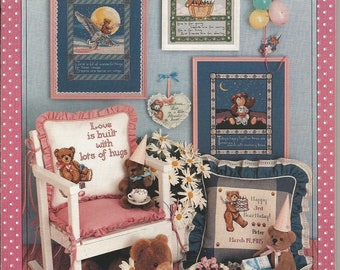 """Vintage Craftways """"Bearly Yours"""" Cross Stitch leaflet"""