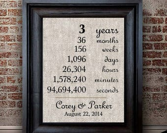 3 Years Together | 3rd Anniversary Gift | Cotton Anniversary Print | Hours Minutes Seconds | 3 Year Anniversary Gift | Gift for Husband Wife