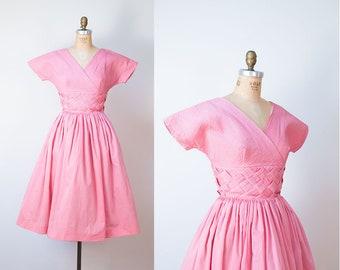1950s Jonathan Logan Dress / 50s Bubblegum Pink Sundress Woven Pintucks