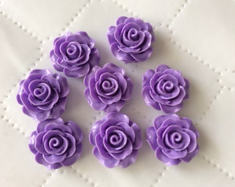 6 pcs 20 mm  Resin Cabochon Flowers. Purple Rose, purple resin flower, purple cabochon, Great for bobby pin blank, ring, Earring ,pendant