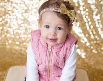 White and Gold Headband, White and Gold Bow, Gold Bow Headband, Gold Flower Girl Headband, Metallic Bow Headband, Gold Headband, Gold Bow