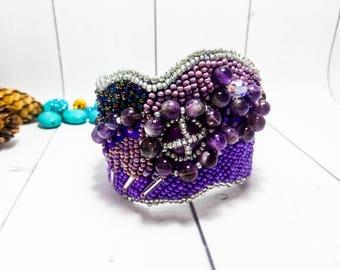 Seed bead jewelry Amethyst bracelet Beadwork jewelry Purple bracelet Beading jewelry Cuff bracelet Bead cuff Clothing gift Purple jewelry