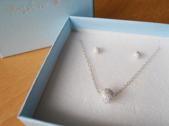 Bridesmaid Gift Set - Silver Stardust Necklace & Stud Earrings - Sterling Silver