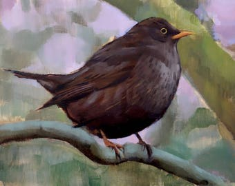 "Archival 12"" x 16"" Giclee Print / Blackbird (no.167) Oil Painting Realism Bird Animal Wildlife Nature Small"