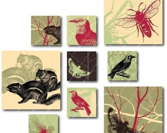Oriental Forest 1 inch Square Tiles, Digital Collage Sheet, Download and Print Jpeg Images