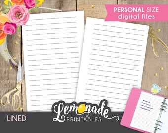Lined planner insert Printable Lined Pages for Planner Insert Personal lined planner Inserts with lines Personal filofax and kikki k medium